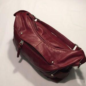 Perlina Genuine Leather Burgundy Hobo Bag